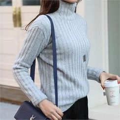 CHICFOX - Turtle-Neck Rib-Knit Sweater