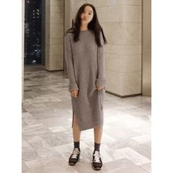maybe-baby - Round-Neck Ribbed Knit Dress