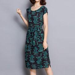 LunarS - Short-Sleeve Print Midi Dress