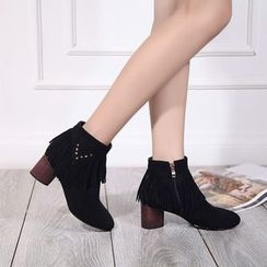 Pretty in Boots - Fringed Chunky Heel Ankle Boots