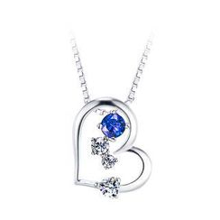 BELEC - 925 Sterling Silver Heart-shaped Pendant with Blue Cubic Zircon and Necklace
