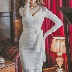 Aurora - 長袖腰繫帶蕾絲連衣裙