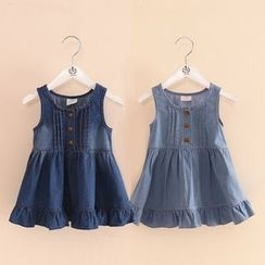 Seashells Kids - Kids Ruffle Hem Sleeveless Denim Dress