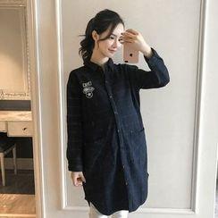 Oulimom - Maternity Printed Plaid Denim Long Shirt