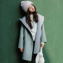 Woodie - 連帽雙排扣大衣