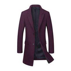 Best Gang - Peaked Collar Slim-Fit Woolen Coat