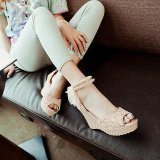 JY Shoes - Embellished Ankle Strap Wedge Sandals