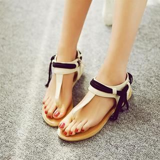 JY Shoes - Fringed Thong Sandals
