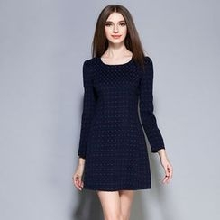Cherry Dress - Long-Sleeve Dotted A-Line Dress