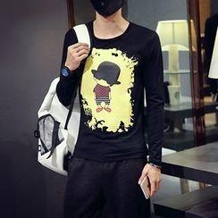 maxhomme - 長袖卡通印花T恤