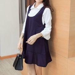 Phyllis - Set : Sleeveless Dress + Bell-Sleeve Blouse
