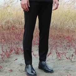 BYMONO - Brushed-Fleece Lined Tapered Dress Pants