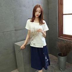 AiSun - Set: Short-Sleeve Pattern Top + Midi Skirt