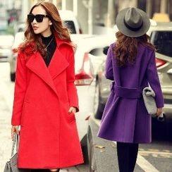 Romantica - Wool Blend Notched-Lapel Plain Coat
