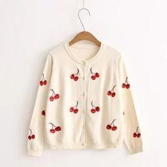 Snow Goose - Cherry Embroidered Cardigan