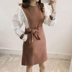Little V - Mock Two Piece Tie Waist Long Sleeve Mini Dress