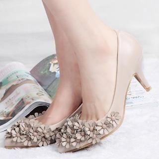 ZDJ Footwear - Flower-Accent Pointy Pumps