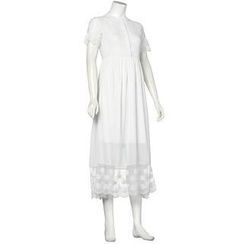 QZ Lady - Short-Sleeve Lace Chiffon Maxi Dress