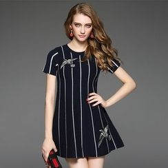 Ozipan - Short-Sleeve Striped Applique A-Line Dress