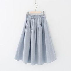 Meimei - Striped A-Line Midi Skirt