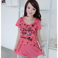 59 Seconds - Short-Sleeve Lettering Knit Top