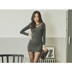 UUZONE - Mesh-Yoke Bodycon Dress