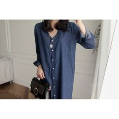UPTOWNHOLIC - V-Neck Denim Shirtdress