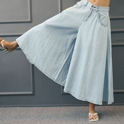 DANI LOVE - Fluttered Wide-Leg Denim Pants