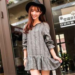 11.STREET - Print 3/4-Sleeve Dress
