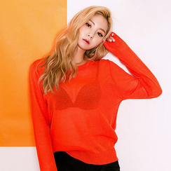 chuu - Round-Neck Sheer Knit Top