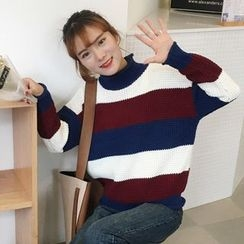 Dute - Striped Mock Neck Thick Sweater