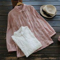 YOYO - 長袖貼布繡襯衫
