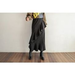 Seoul Fashion - Band-Waist Ruffle-Trim Long Skirt