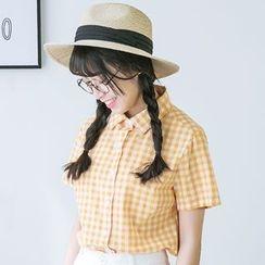 Bonbon - Gingham Short-Sleeve Shirt