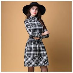 Elabo - Plaid Mock-neck A Line Dress