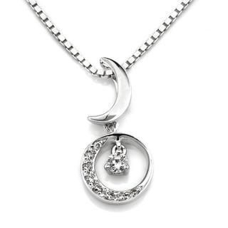 MaBelle - 18K White Gold Moon And Star Pave Style Diamond Accent Pendant (1/10 cttw) (FREE 925 Silver Box Chain)