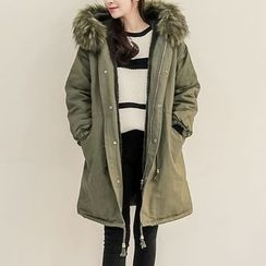 Seoul Fashion - Faux-Fur Trim Hooded Parka