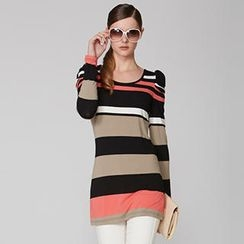 O.SA - Ruched-Sleeve Striped Long Top
