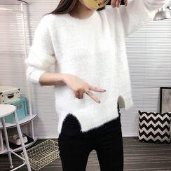 Cotton Candy - 毛毛開衩毛衣