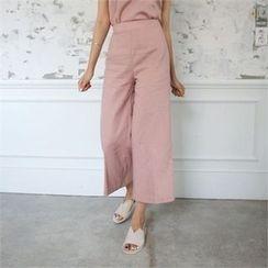 QNIGIRLS - Flat-Front Wide-Leg Pants