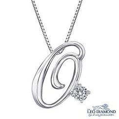 Leo Diamond - Initial Love 18K White Gold Diamond Pendant Necklace (16') - 'O'