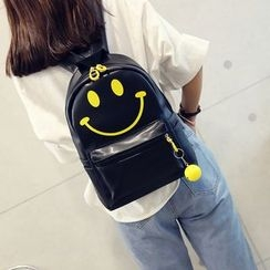 Seok - Smiley Face Print Faux Leather Backpack