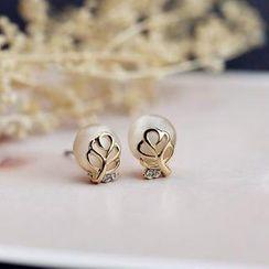 Love Generation - Faux-Pearl Eyelet Leaf Opal Earrings
