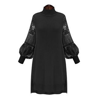 Sugar Town - Long-Sleeve Lace Panel Dress