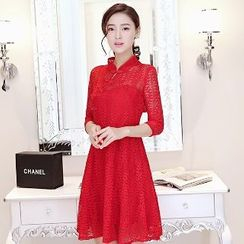 Romantica - 3/4-Sleeve Plain A-Line Dress