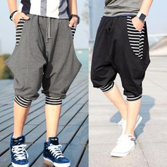 Sheck - Drawstring Stripe Detail Baggy Cropped Pants