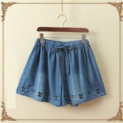 aerokiss - Embroidered Wide Leg Shorts