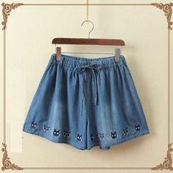 aerokiss - 刺绣宽腿短裤