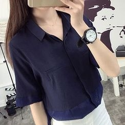 Only Eve - Panel Short-Sleeve Blouse