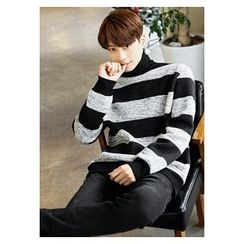 HOTBOOM - Turtle-Neck Stripe Brushed-Fleece Lined Sweater